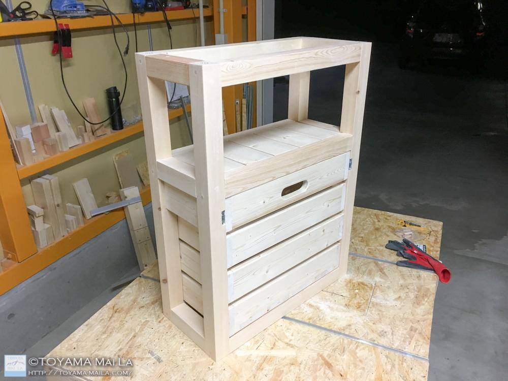 DIY キッチンワゴン タイル張り20
