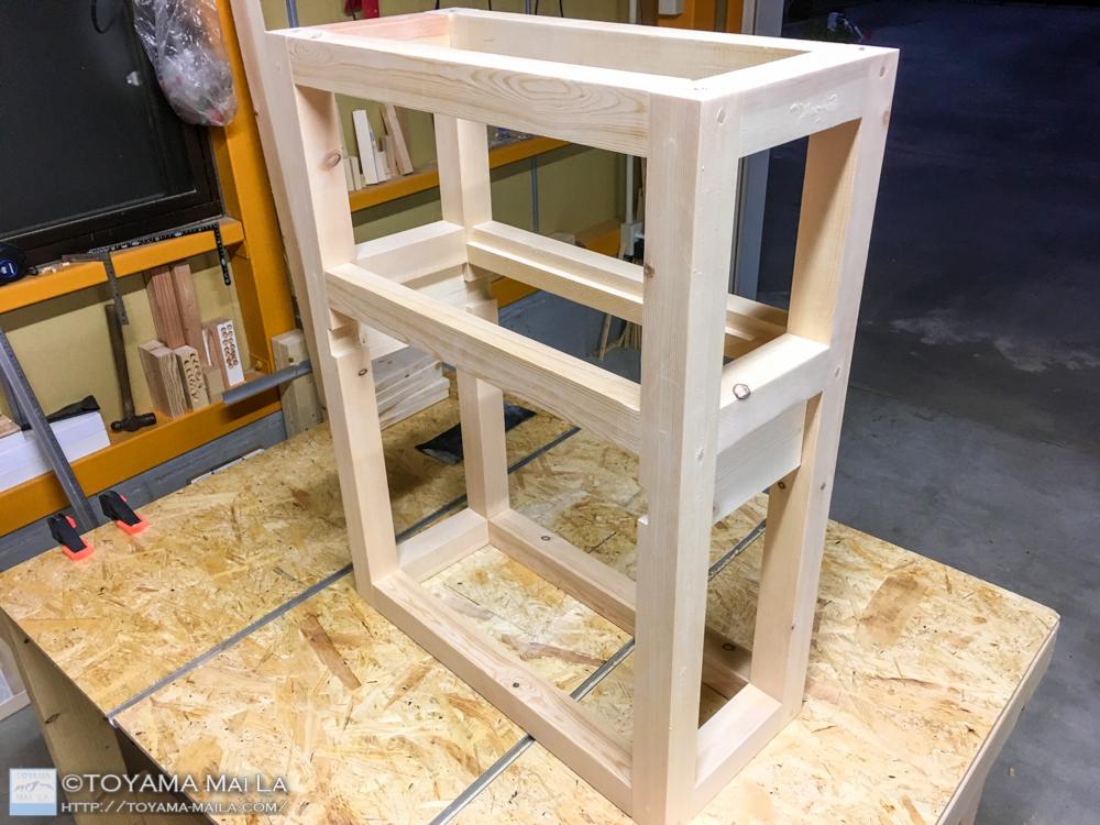DIY キッチンワゴン タイル張り8