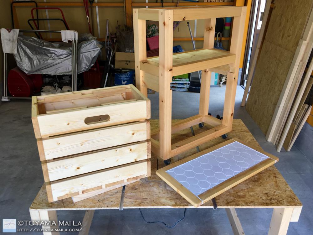 DIY キッチンワゴン タイル張り25