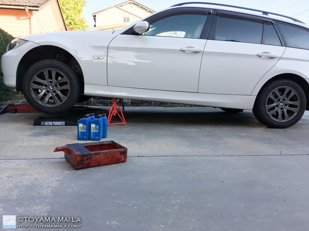 BMW W91 3シリーズ ツーリングワゴン オイル交換 コストコ シェブロン 10w 40 DIY 4