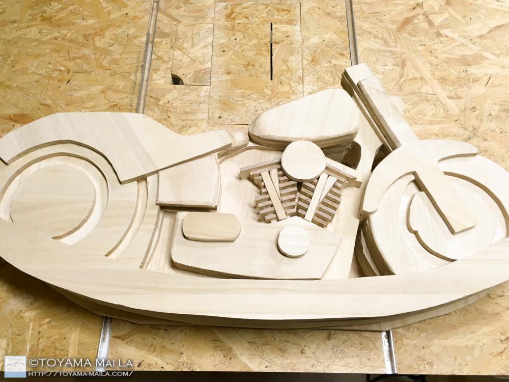 木バイク エンジン フィン部分 木馬 DIY 3